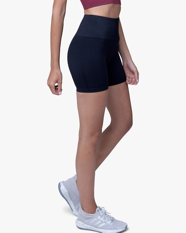 Lynx Active Black Ribbed High-Waist Shorts 1