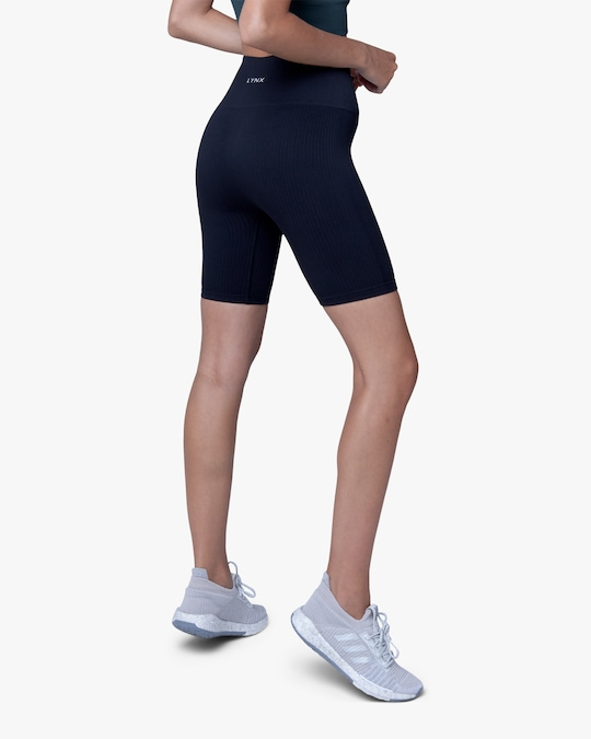 Lynx Active Black High-Rise Bike Shorts 1