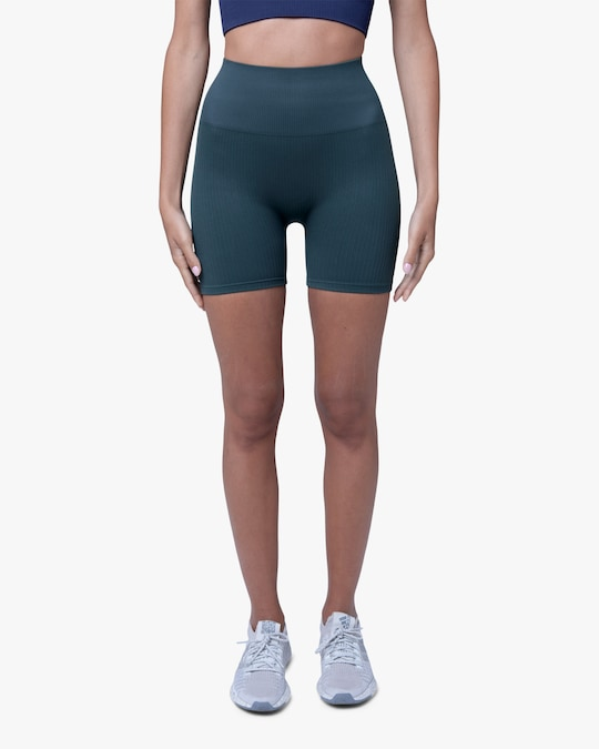 Lynx Active Forest Green Ribbed High-Waist Shorts 0