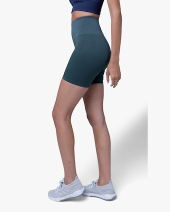 Lynx Active Forest Green Ribbed High-Waist Shorts 2