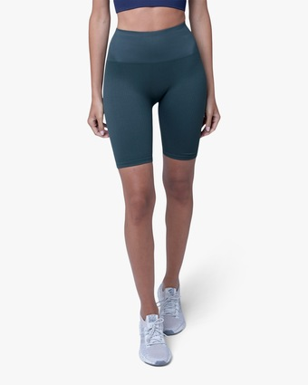 Lynx Active Forest Green High-Rise Bike Shorts 1
