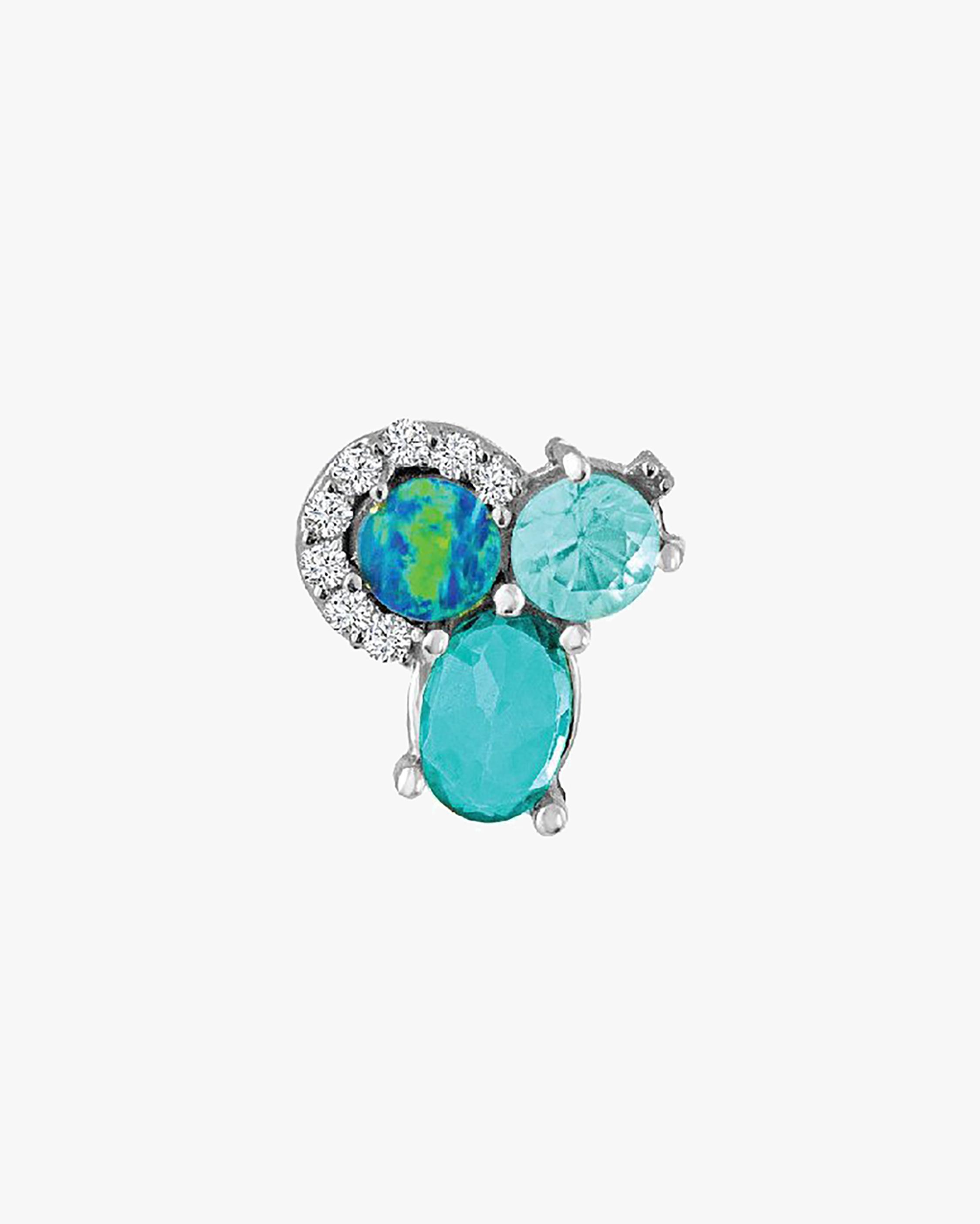 Single Diamond & Gemstone Stud Earring