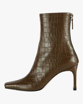 Croc-Embossed Ribbon Square Thin Boot