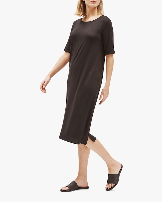 Eileen Fisher Round Neck Short-Sleeve Tee Dress 0