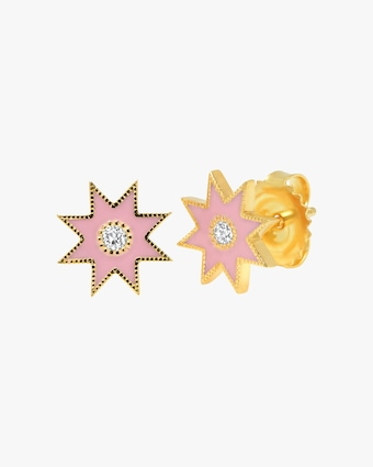 Colette Jewelry Pink Starburst Diamond Stud Earrings 1