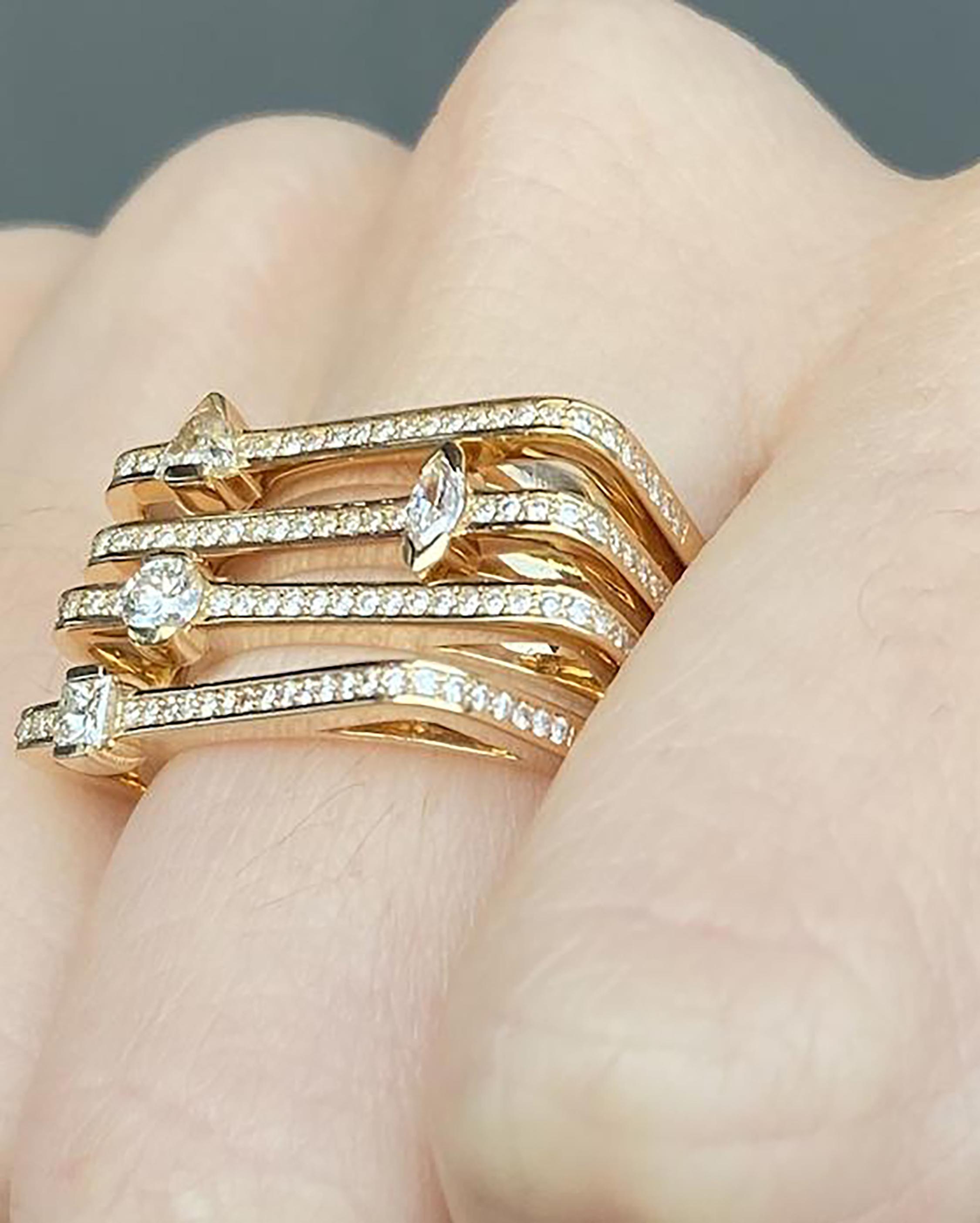 Colette Jewelry Princess-Cut Diamond Bar Ring 1