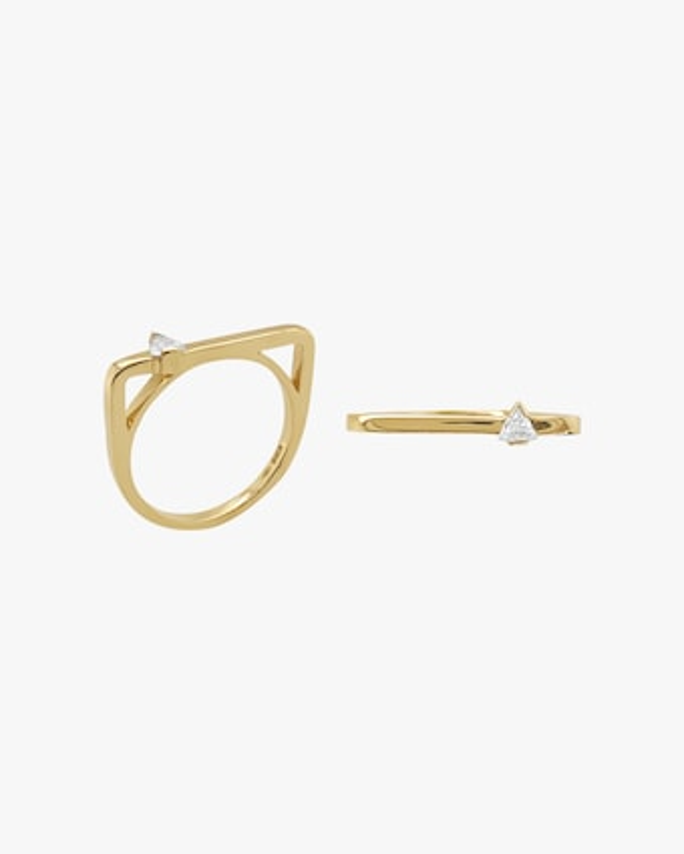 Square Trilliant-Cut Diamond Bar Ring