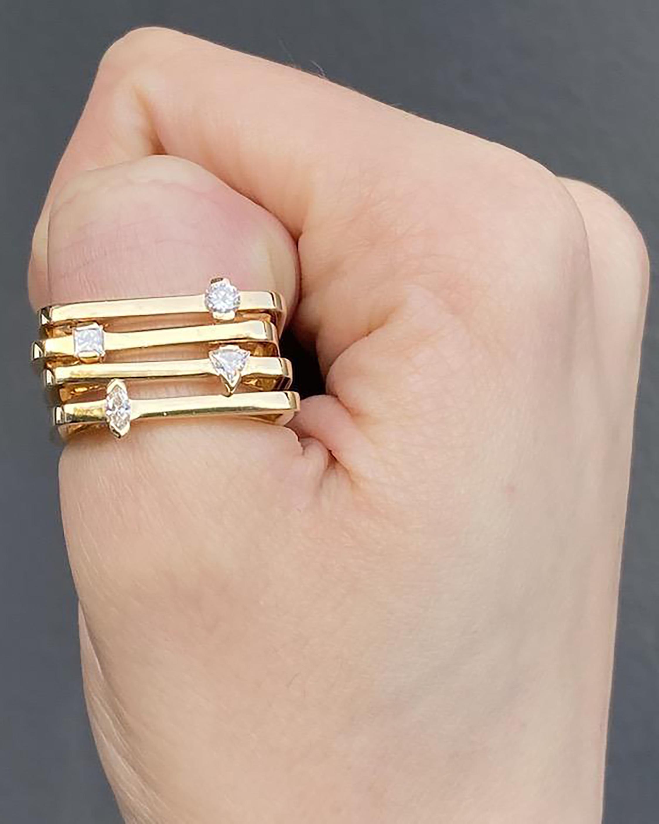 Colette Jewelry Square Trilliant-Cut Diamond Bar Ring 2