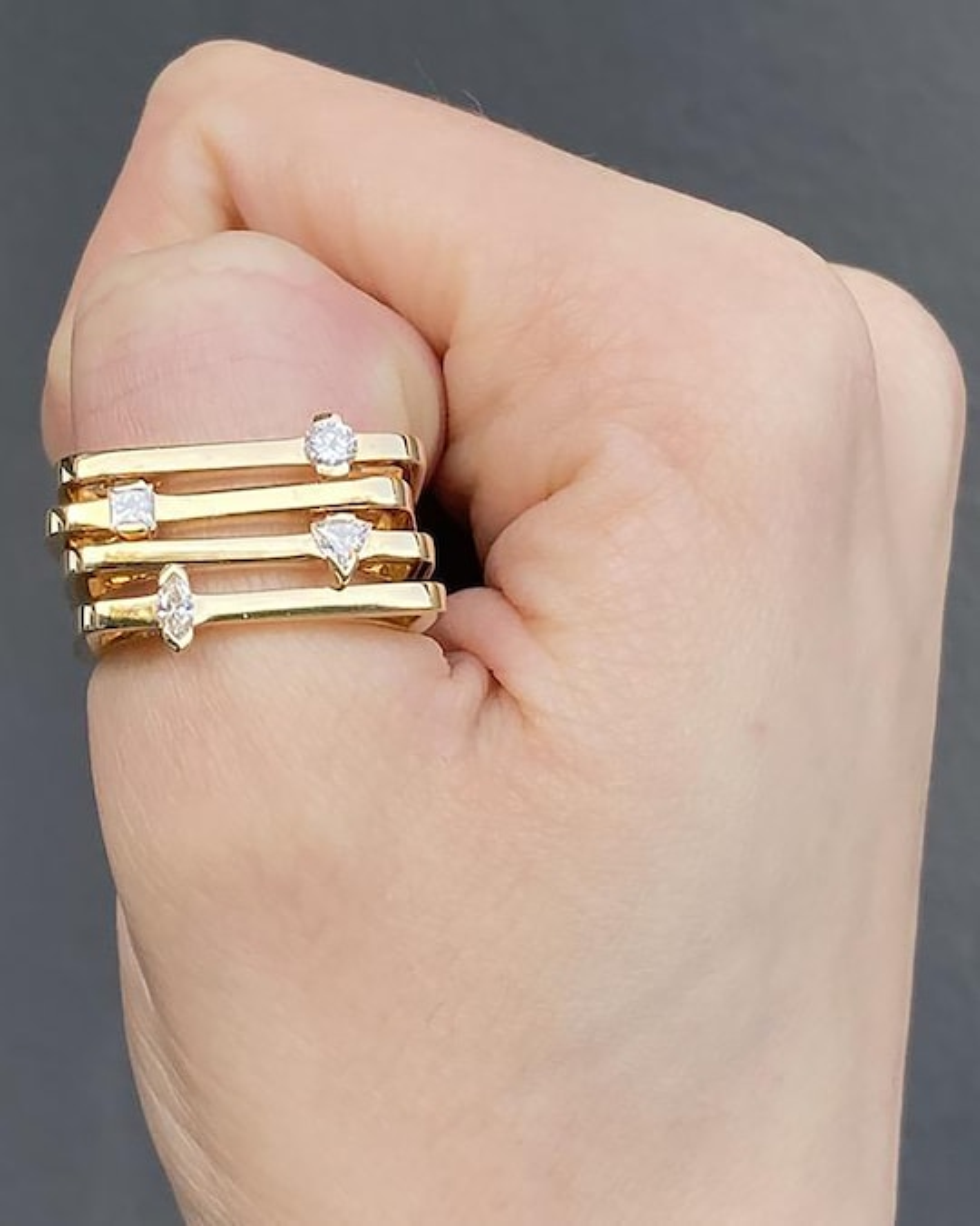 Colette Jewelry Square Trilliant-Cut Diamond Bar Ring 1