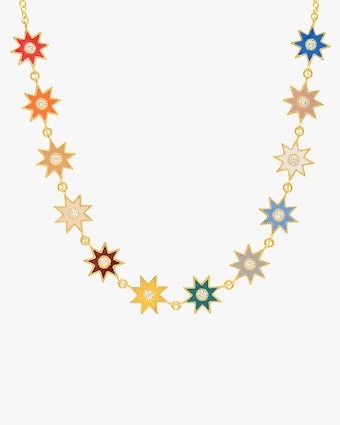 Rainbow Starburst Diamond Station Necklace