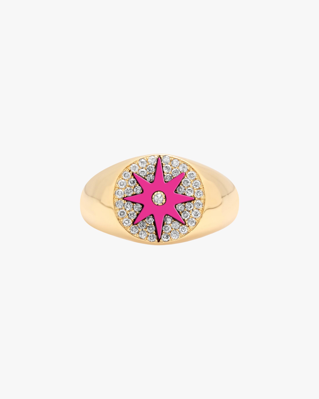 Pink Starburst Diamond Signet Ring