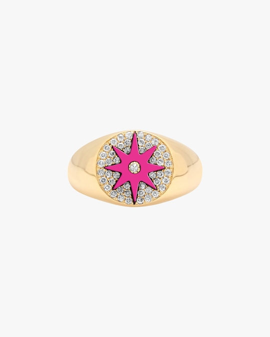 Colette Jewelry Pink Starburst Diamond Signet Ring 0