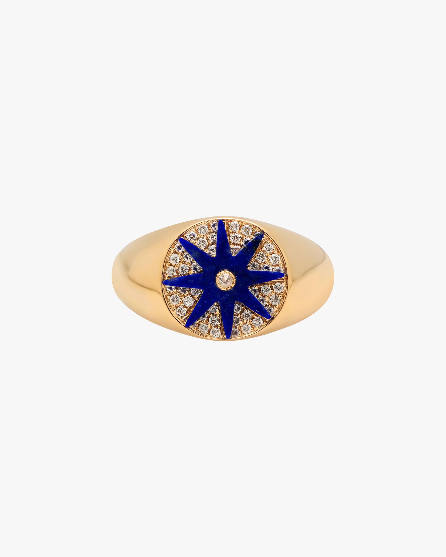 Colette Jewelry Blue Starburst Diamond Signet Ring 1