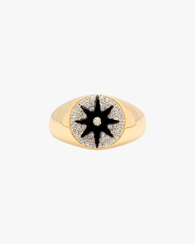 Colette Jewelry Black Starburst Diamond Signet Ring 1