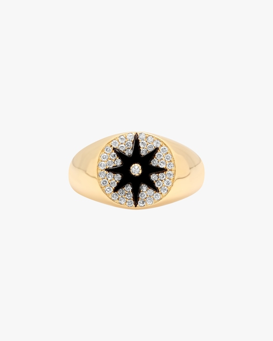 Colette Jewelry Black Starburst Diamond Signet Ring 0