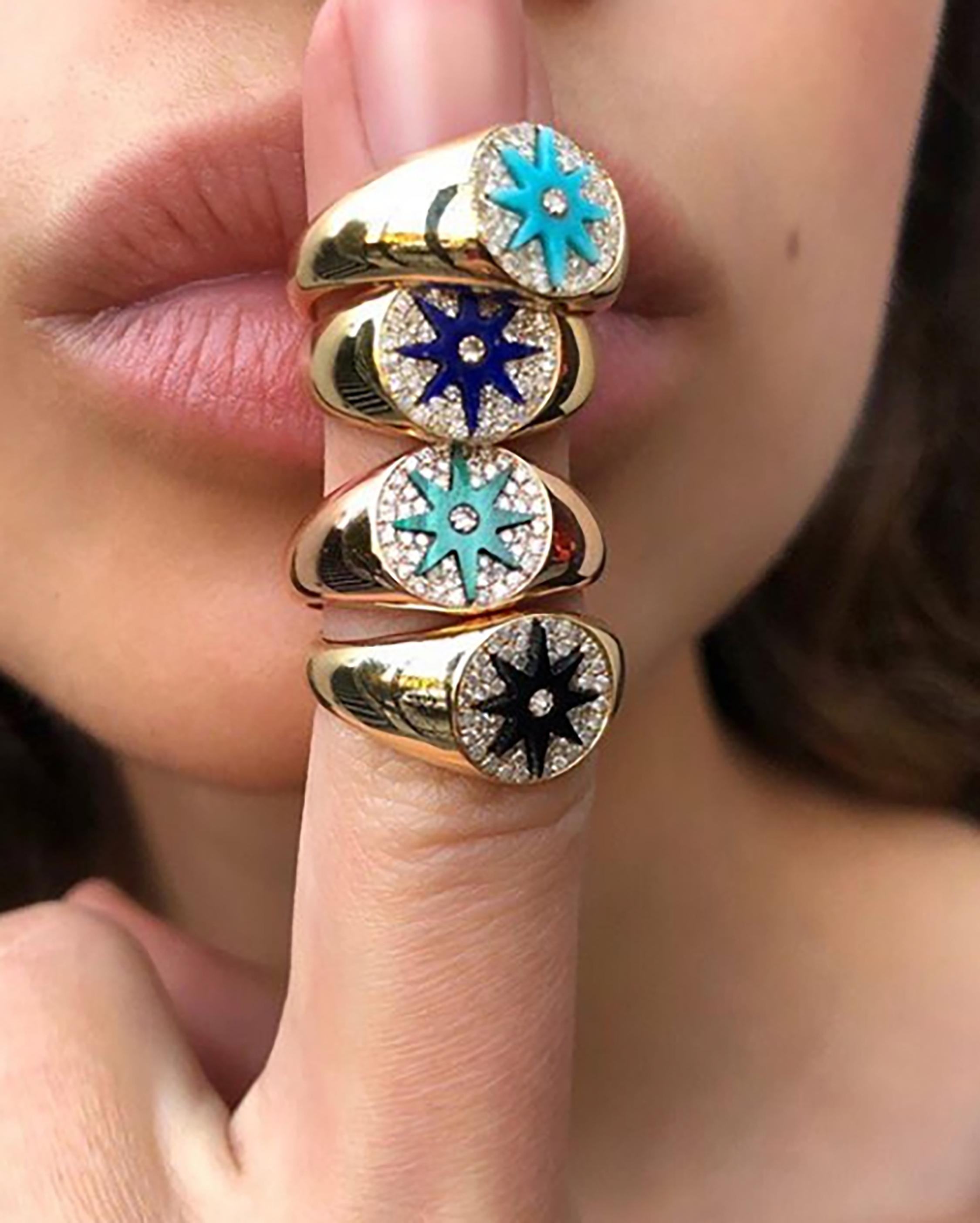 Colette Jewelry Turquoise Starburst Diamond Signet Ring 1