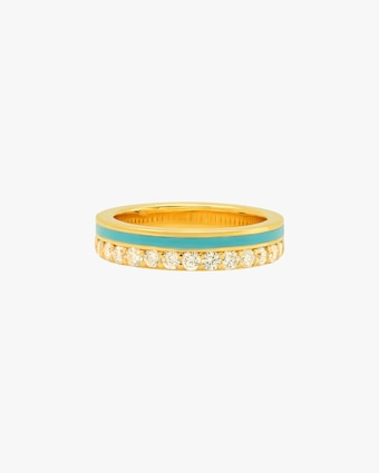 Colette Jewelry Teal Enamel & Diamond Band 1