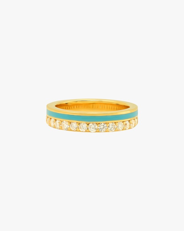 Colette Jewelry Teal Enamel & Diamond Band 0