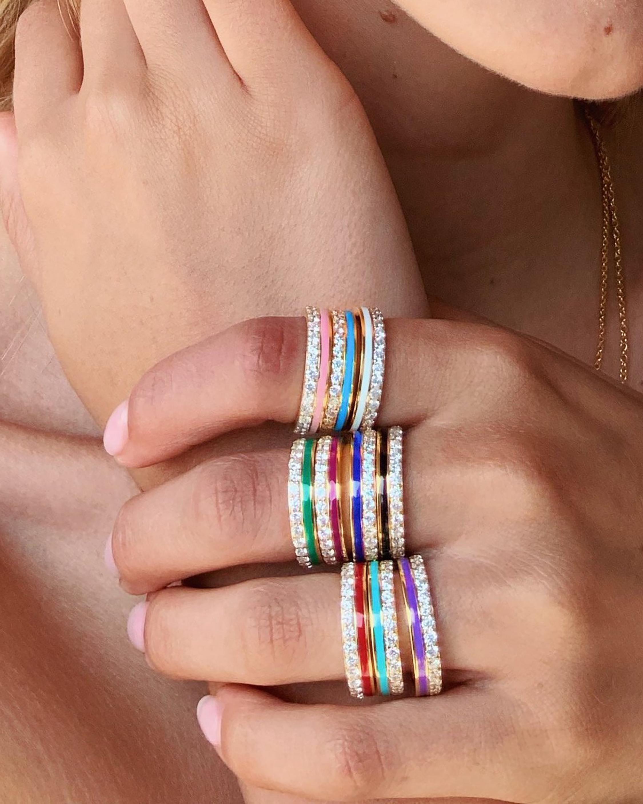 Colette Jewelry Teal Enamel & Diamond Band 1