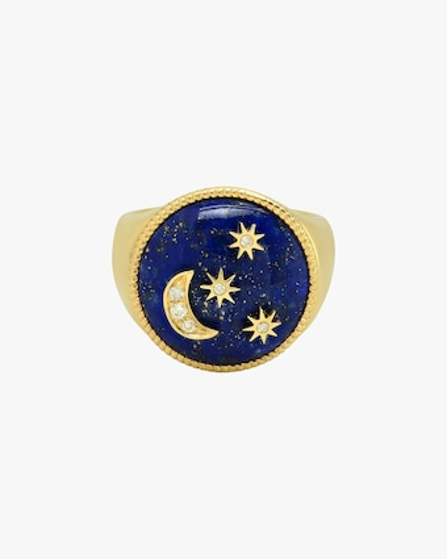 Colette Jewelry Lapis Enamel & Diamond Signet Ring 1