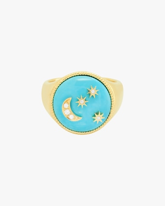 Turquoise Enamel & Diamond Signet Ring
