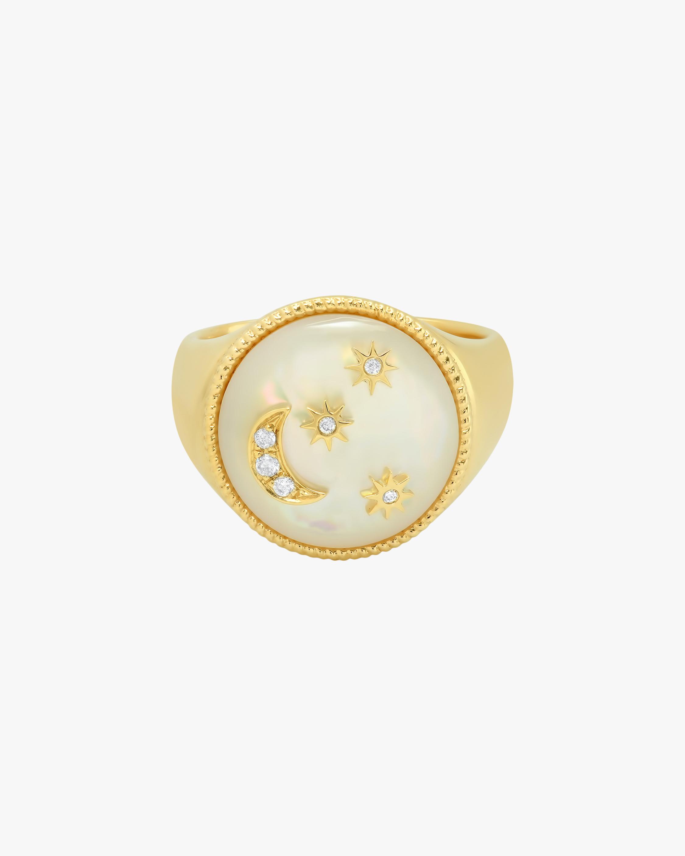 Colette Jewelry White Enamel & Diamond Signet Ring 1