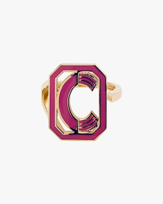 Colette Jewelry Pink Enamel Gatsby Initial Ring 1