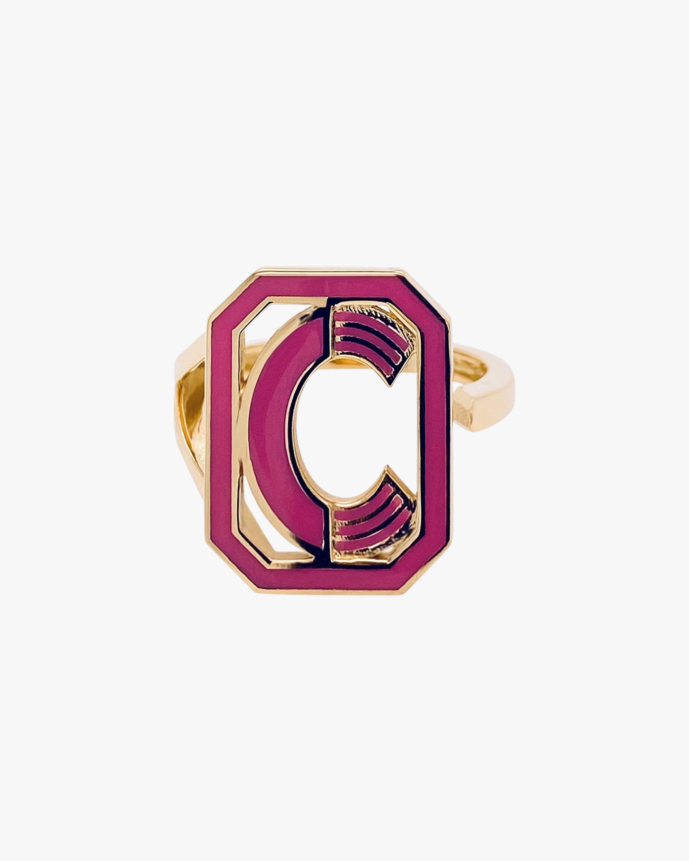 Pink Enamel Gatsby Initial Ring