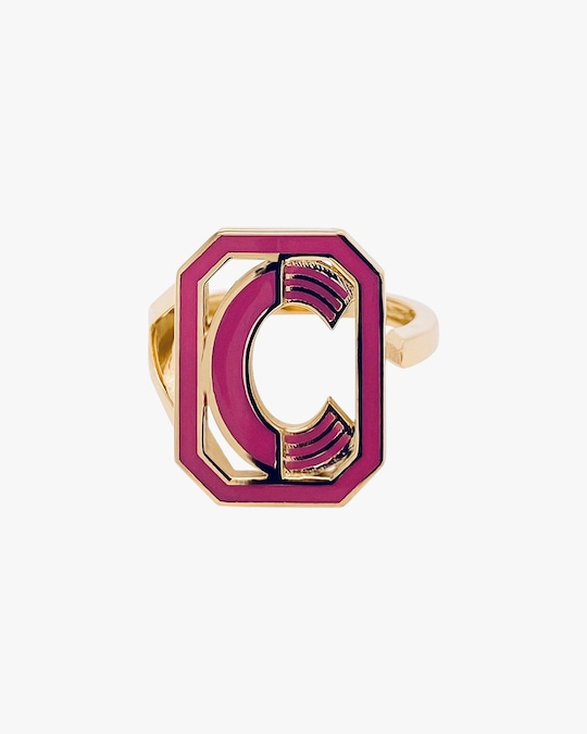 Colette Jewelry Pink Enamel Gatsby Initial Ring 0