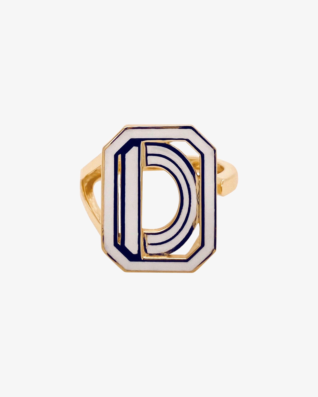 White Enamel Gatsby Initial Ring