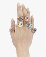Colette Jewelry White Enamel Gatsby Initial Ring 1