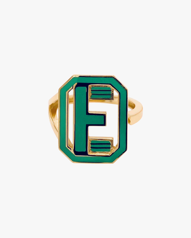Green Enamel Gatsby Initial Ring