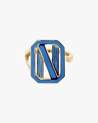 Colette Jewelry Blue Enamel Gatsby Initial Ring 1
