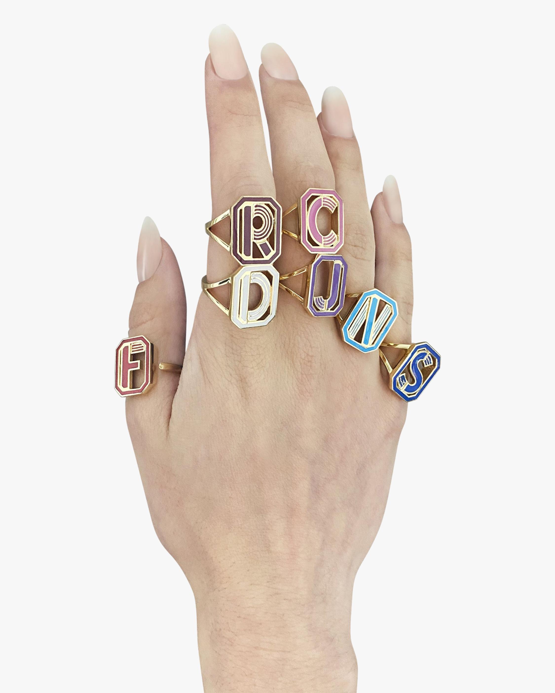 Colette Jewelry Blue Enamel Gatsby Initial Ring 1