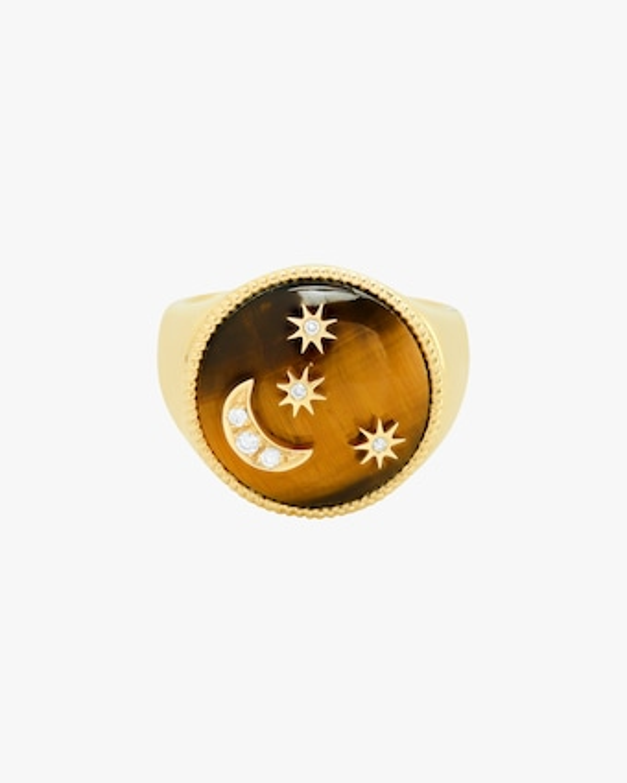 Amber Enamel & Diamond Signet Ring