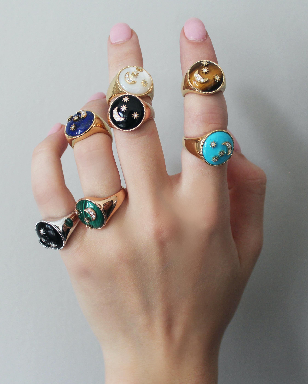 Colette Jewelry Amber Enamel & Diamond Signet Ring 2