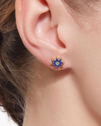 Colette Jewelry Navy Starburst Diamond Stud Earrings 2