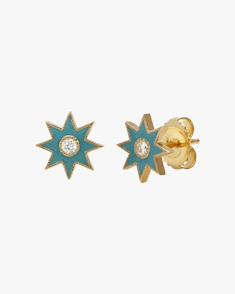 Colette Jewelry Turquoise Starburst Diamond Stud Earrings 1