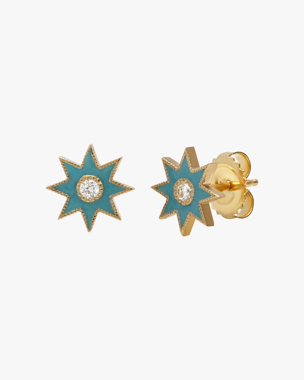 Colette Jewelry Turquoise Starburst Diamond Stud Earrings 0