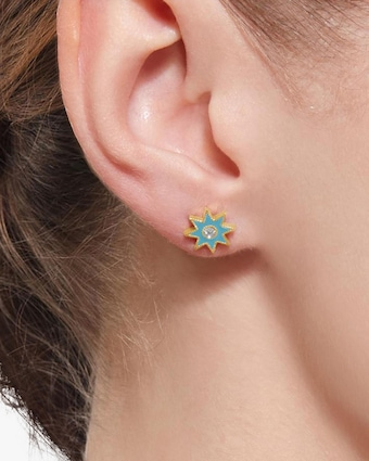 Colette Jewelry Turquoise Starburst Diamond Stud Earrings 2