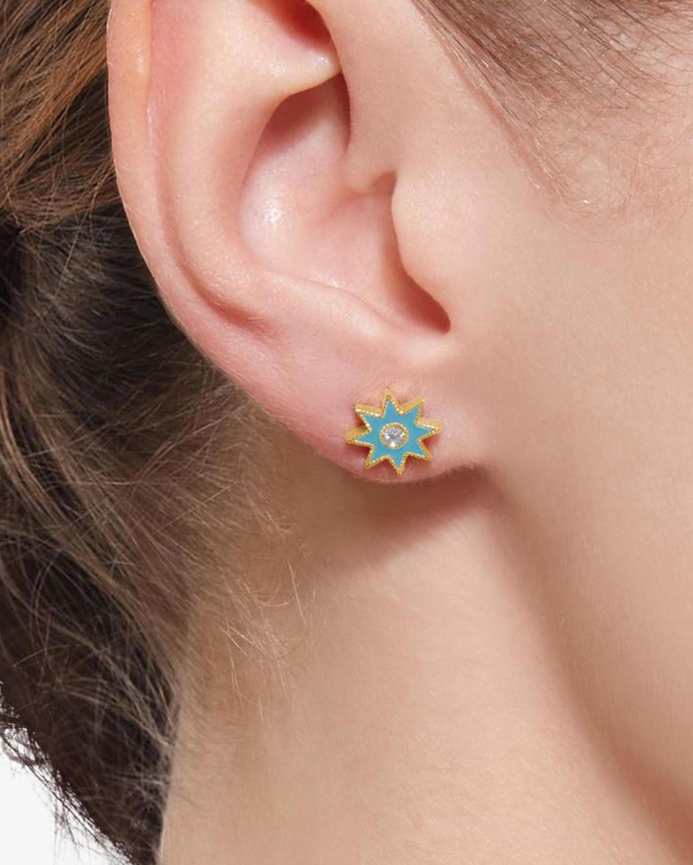 Colette Jewelry Turquoise Starburst Diamond Stud Earrings 1