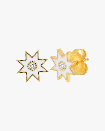 Colette Jewelry White Starburst Diamond Stud Earrings 1