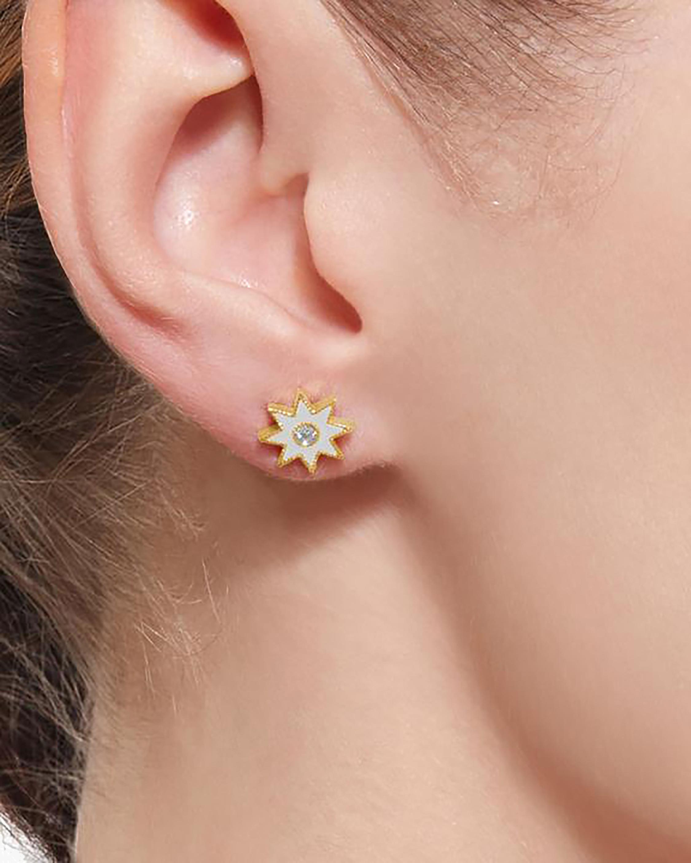 White Starburst Diamond Stud Earrings
