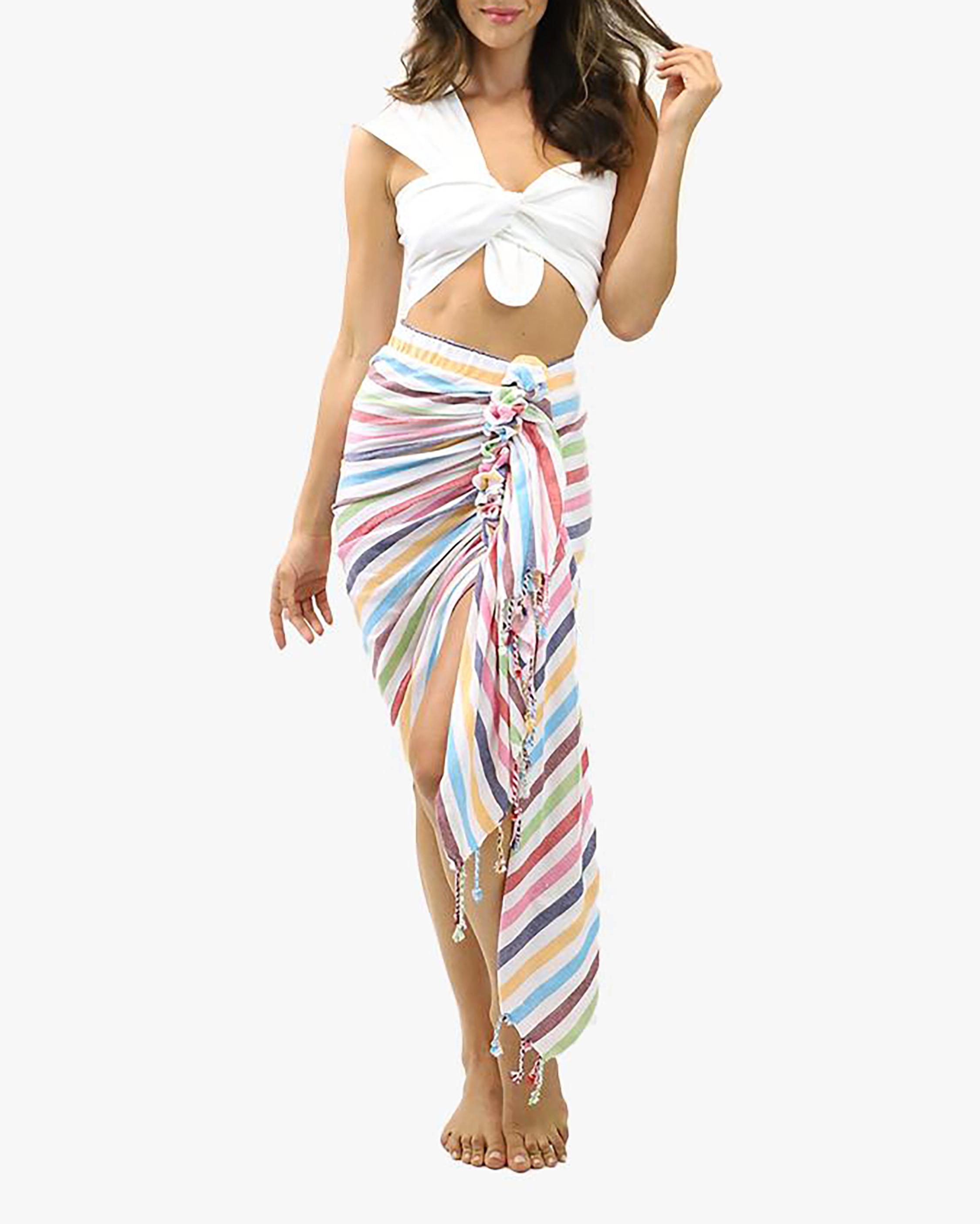 Just Bee Queen Tulum Rainbow Wrap Midi Skirt 0