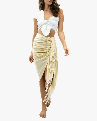 Just Bee Queen Tulum Striped Wrap Midi Skirt 2