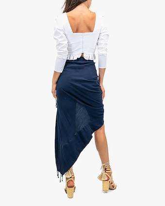 Tulum Navy Wrap Midi Skirt