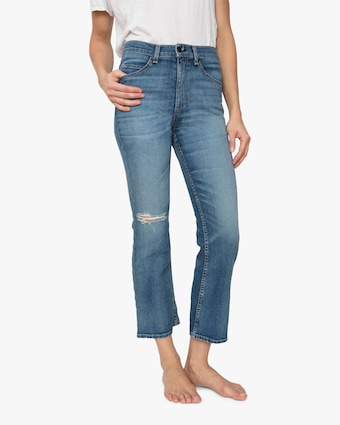 High-Rise Cropped Boot Cut Jeans