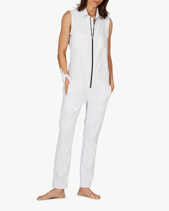 ASKK White Zip-Front Jumpsuit 1