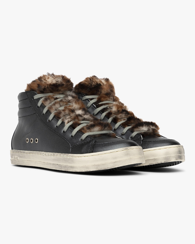 Leopard Fur Skate High-Top Sneaker