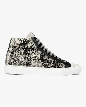 P448 Cow Print Star High-Top Sneaker 1